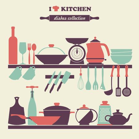vintage kitchen: Vintage kitchen dishes icons set Illustration
