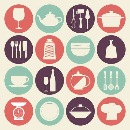 Vintage kitchen dishes icons Illustration