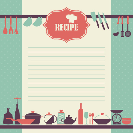 delantal: Diseño de la página de la receta. Página del libro de cocina de estilo vintage