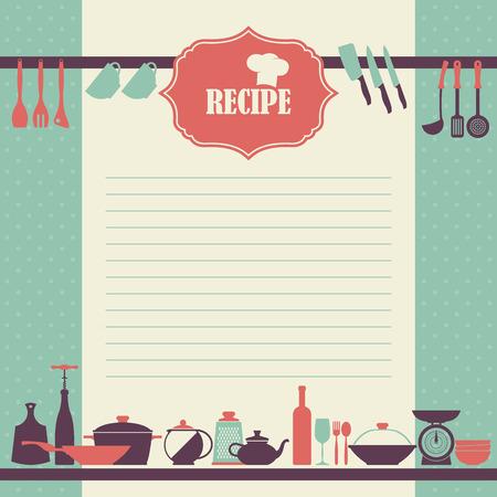 ustensiles de cuisine: page Recette design. Page de livre de cuisine de style vintage