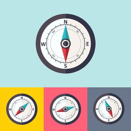 compass: Wind rose compass flat symbol Illustration
