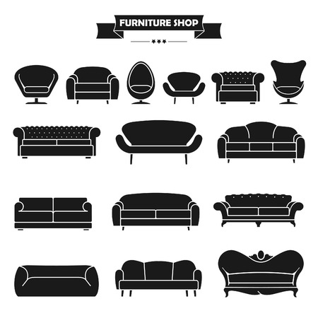 living room design: Luxury modern sofa and couch icons set. Vintage furniture collection. Illustration