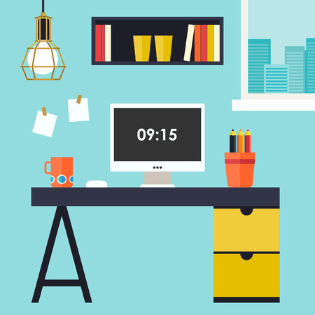work office: Home office flat interior illustration