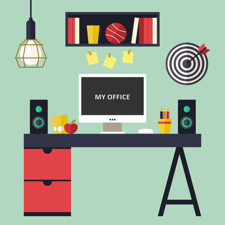 home office interior: Home office flat interior illustration