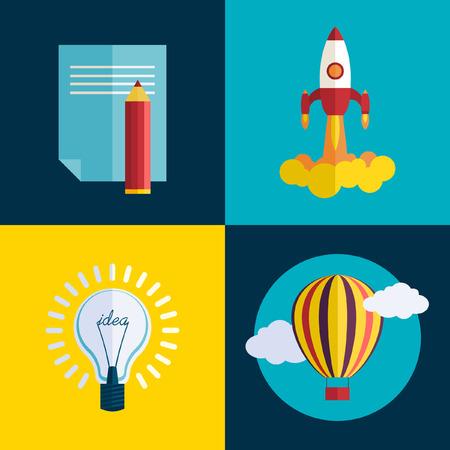 유행: 비즈니스 발사 개념을 시작합니다. 플랫 유행 로켓 시작 아이콘을 설정