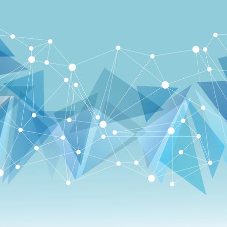 Veelhoekige blauwe achtergrond met abstracte moleculaire verbinding