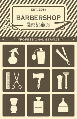 set of men hair styling: Barber Shop vintage tools icons set