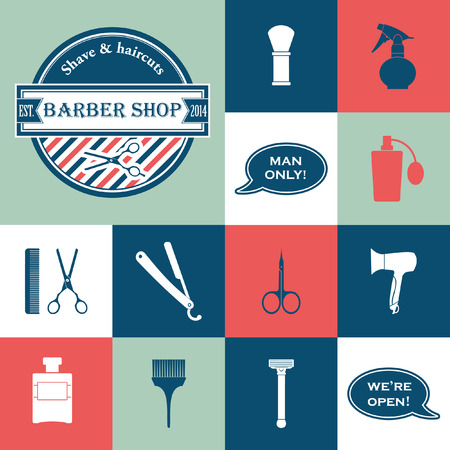set of men hair styling: Barber Shop vintage tools vector icons set