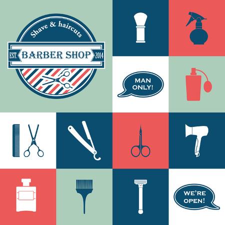 set of men hair styling: Barber Shop vintage tools vector icons set