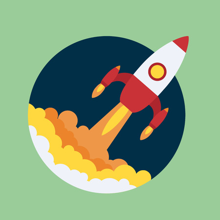 launch: rocket start up icon Illustration