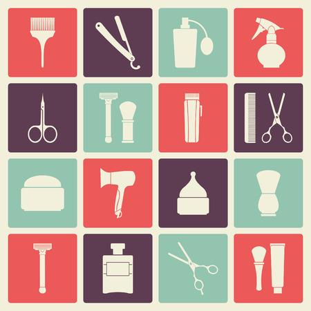 silueta hombre: Peluquería de caballeros herramientas vendimia iconos conjunto