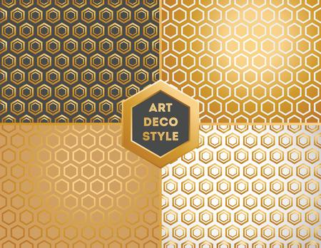 art deco: Art Deco seamless vintage wallpaper patterns set Illustration