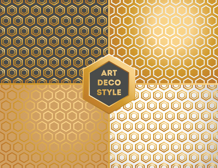 Art Deco seamless vintage wallpaper patterns set Illustration