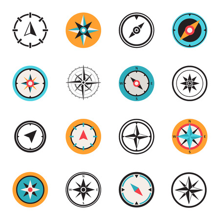 Wind rose compass flat symbols set Çizim