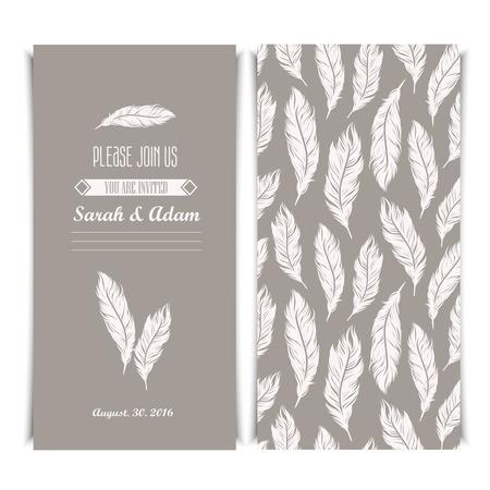 affiance: Elegant invitation vintage template with silver feathers symbols. Illustration