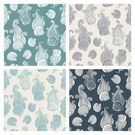 celadon green: Aquamarine sea shell seamless patterns vector set.
