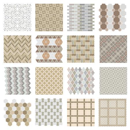 carpet: Architectural and landscape rocks and bricks patterns set.