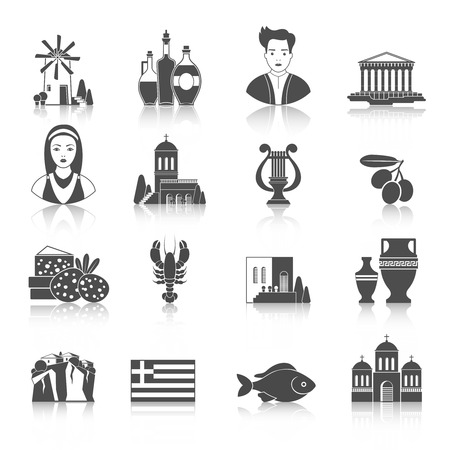 Greece Landmarks and cultural features flat icons design set