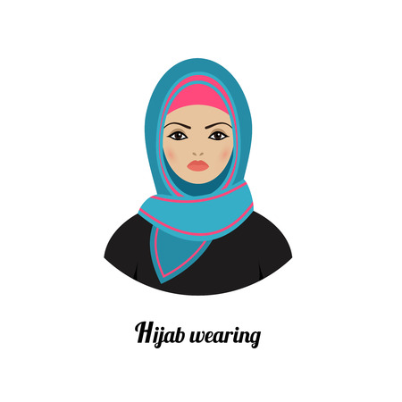 femmes muslim: Avatar de jeune fille musulmane. Hijab musulmane traditionnelle asiatique portant Illustration