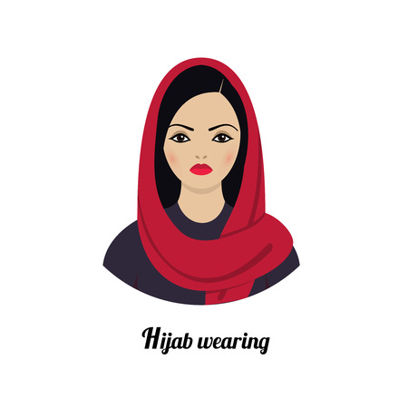 asia women: Muslim girl avatar. Asian muslim traditional hijab wearing.