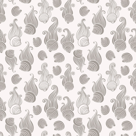 sea shell: Silver Sea shell seamless vector pattern. Illustration