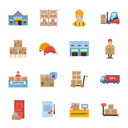 global logistics: Warehousing and Logistic and Delivery icons vector set