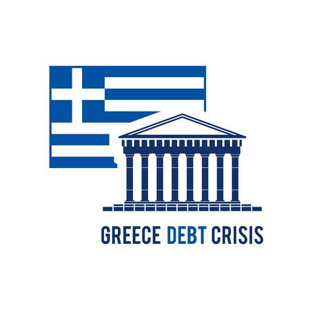 greek currency: Greece debt crisis concept in national greek flag