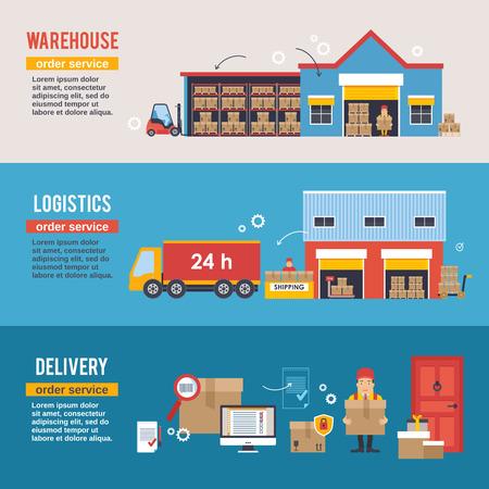transportation: Magazzinaggio e Logistica e striscioni di consegna insieme vettoriale