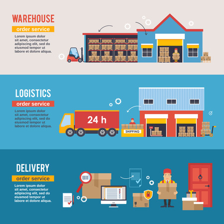 factory workers: Warehousing and Logistic and Delivery banners vector set