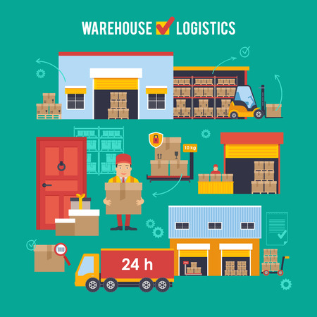 factory workers: Warehousing and Logistic and Delivery vector illustration.