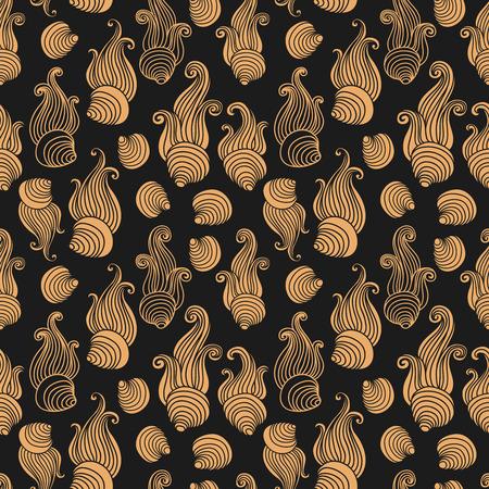 sea shell: Art Deco Sea shell monochrome seamless vector pattern.