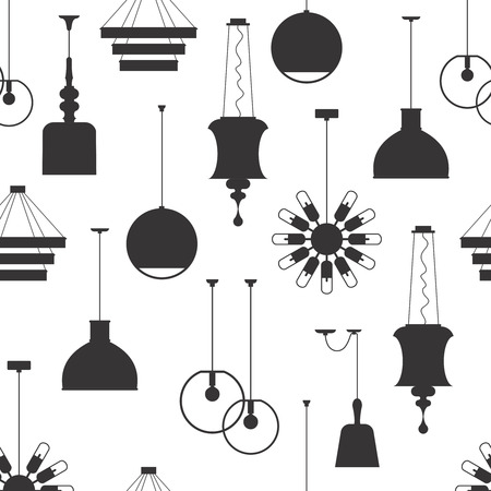 interiors: Lamp interiors vintage seamless vector pattern Illustration