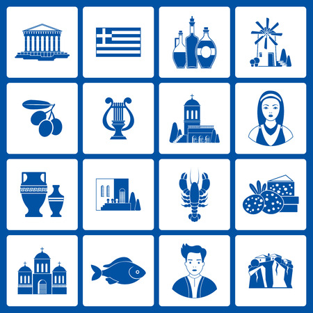 monasteries: Greece Landmarks and cultural features icons design set. Illustration