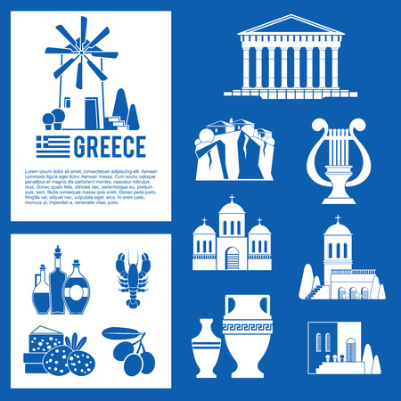 landmark: Greece Landmarks and cultural features blue icons design set.