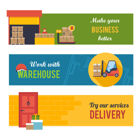 shipping container: Warehousing and Logistic and Delivery banners vector set.