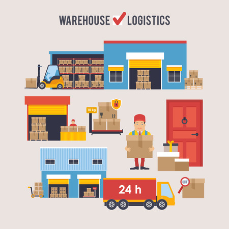 warehousing: Warehousing and Logistic and Delivery banners vector set