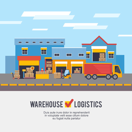 warehousing: Warehousing and Logistic and Delivery vector illustration.