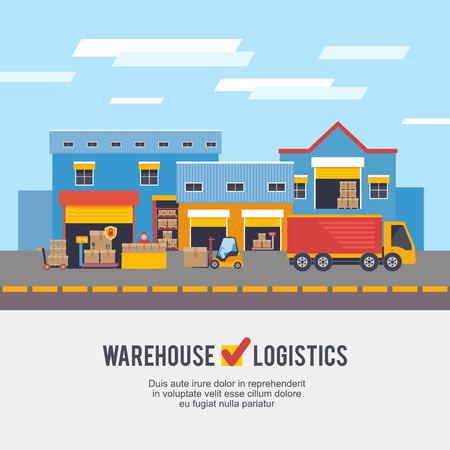 Warehousing en logistiek en Delivery vector illustratie.