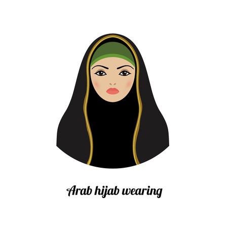 femme musulmane: Avatar de jeune fille musulmane. Hijab musulmane traditionnelle asiatique portant Illustration