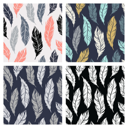 Colored seamless patterns set with feathers symbols