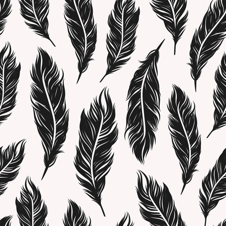 black feather: Abstract monochrome seamless pattern with black feathers symbols on the white background