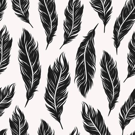 pluma blanca: Resumen monocromo patrón transparente con plumas negras símbolos en el fondo blanco Vectores