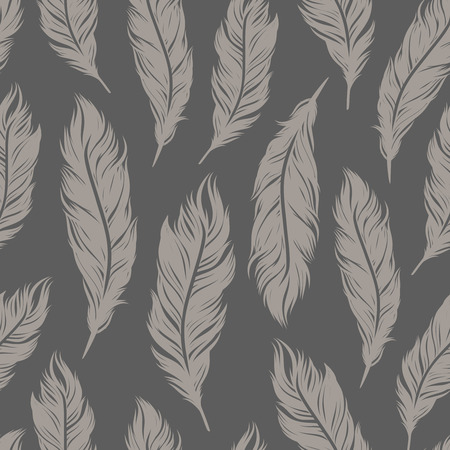 workmanship: Seamless vector pattern with gray feather symbols.