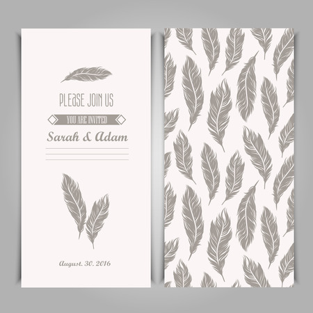 Elegant invitation vintage template with silver feathers symbols. Ilustracja