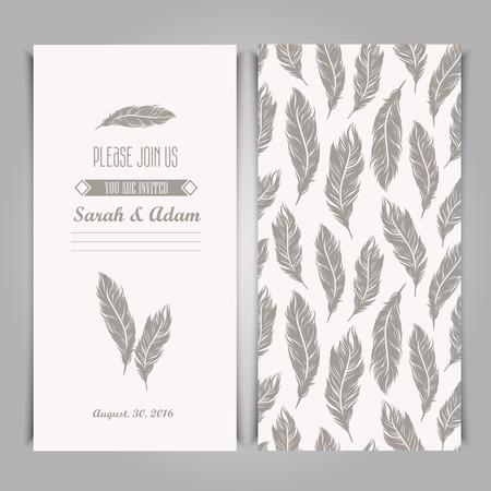 Elegante uitnodiging vintage sjabloon met zilver veren symbolen. Stock Illustratie