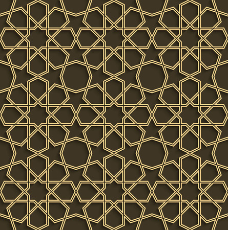 eastern religion: Abstract golden arabic art seamless pattern with shadow effect.