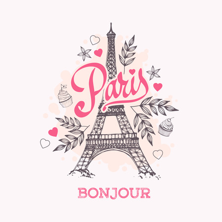paris: Eiffel tower parisian symbol. Hand drawn vector greeting card.
