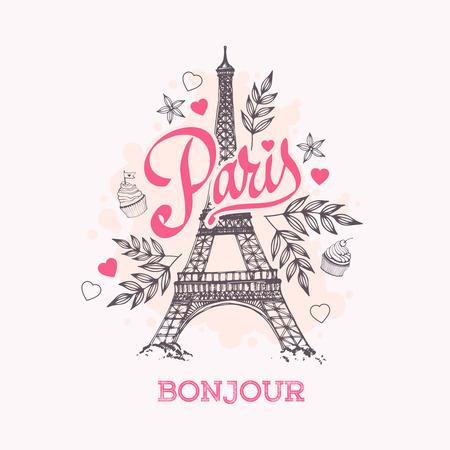 paris vintage: Torre Eiffel símbolo parisino. Mano de tarjetas de felicitación vector dibujado.