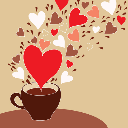 valentine day cup of coffee: Coffee cup with flying hearts Illustration