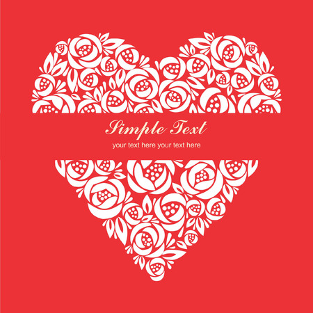 floral heart: Floral heart symbol with paper-cut effect